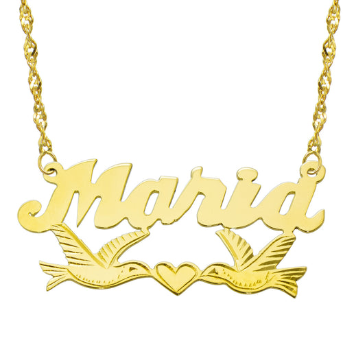 14K Yellow Gold Personalized Name Plate Necklace - Style 11