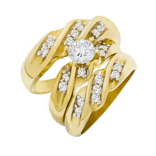 14k Yellow Gold Round Cubic Zirconia Bridal Wedding Trio Ring Set (0.95 cttw) - Style 5