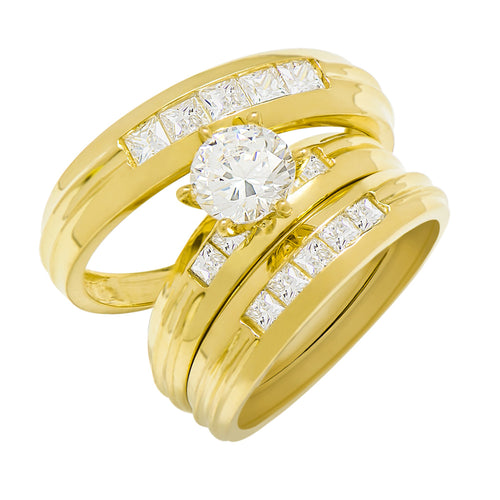 14k Yellow Gold Round Cubic Zirconia Bridal Wedding Trio Ring Set (2.04 cttw) - Style 6