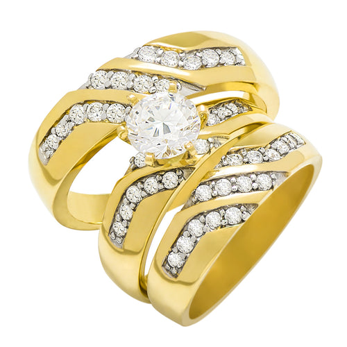 14k Yellow Gold Round Cubic Zirconia Bridal Wedding Trio Ring Set (1.67 cttw) - Style 7