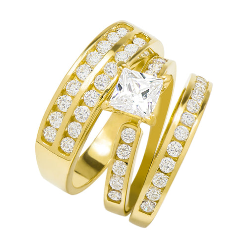 14k Yellow Gold Princess Cubic Zirconia Bridal Wedding Trio Ring Set (2.2 cttw) - Style 8