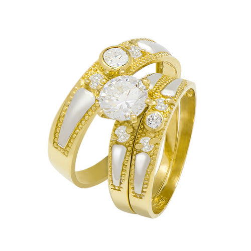 14k Two Tone Gold Round Cubic Zirconia Bridal Wedding Trio Ring Set (1.42 cttw) - Style 10