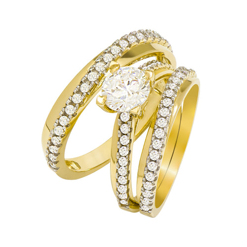 14k Yellow Gold Round Cubic Zirconia Bridal Wedding Trio Ring Set (1.72 cttw) - Style 11