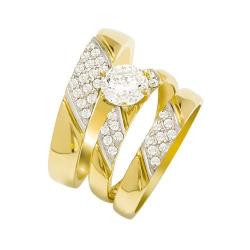 14k Two Tone Gold Round Cubic Zirconia Bridal Wedding Trio Ring Set (1.37 cttw) - Style 12
