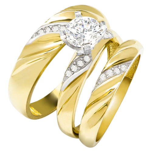 14k Two Tone Gold Round Cubic Zirconia Bridal Wedding Trio Ring Set (1.32 cttw) - Style 13