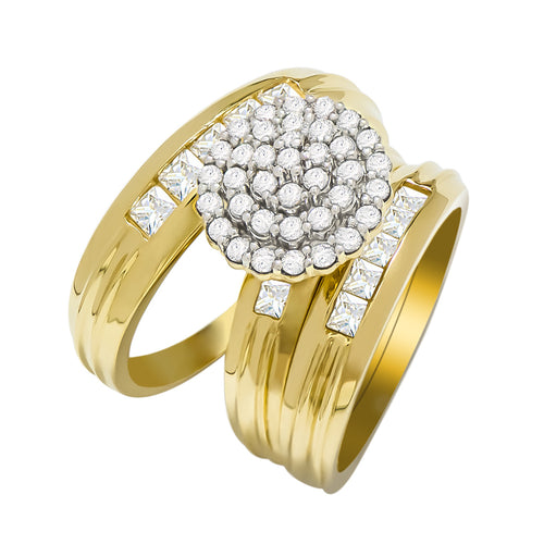 14k Yellow Gold Round Cubic Zirconia Bridal Wedding Trio Ring Set (1.94 cttw) - Style 14
