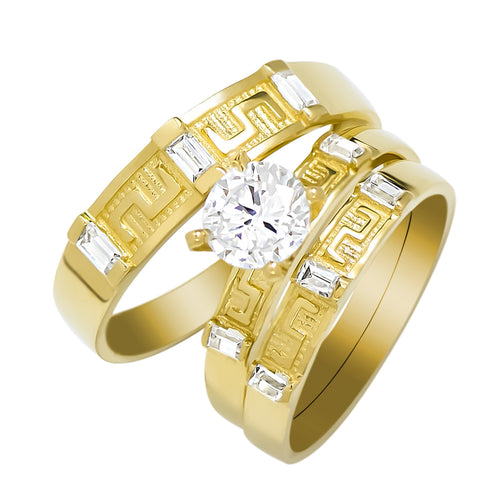 14k Yellow Gold Round Cubic Zirconia Bridal Wedding Trio Ring Set (1.28 cttw) - Style 15