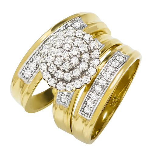 14k Yellow Gold Round Cubic Zirconia Bridal Wedding Trio Ring Set (1.17 cttw) - Style 16