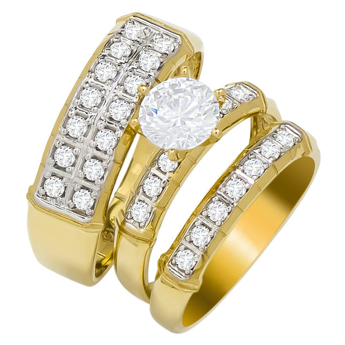 14k Yellow Gold Round Cubic Zirconia Bridal Wedding Trio Ring Set (1.7 cttw) - Style 17