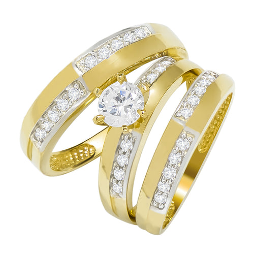 14k Two Tone Gold Round Cubic Zirconia Bridal Wedding Trio Ring Set (1.06 cttw) - Style 18