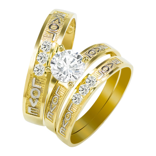 14k Two Tone Gold Round Cubic Zirconia