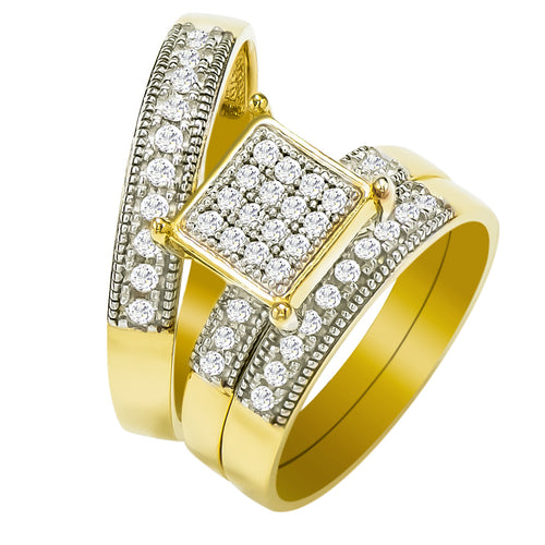 14k Yellow Gold Round Cubic Zirconia Bridal Wedding Trio Ring Set (0.72 cttw) - Style 20
