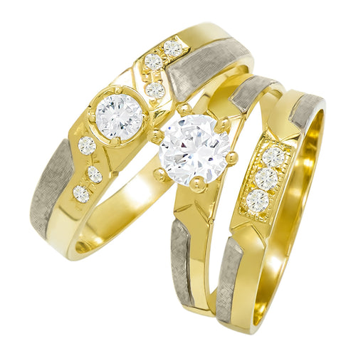 14k Two Tone Gold Round Cubic Zirconia Bridal Wedding Trio Ring Set (0.98 cttw) - Style 21