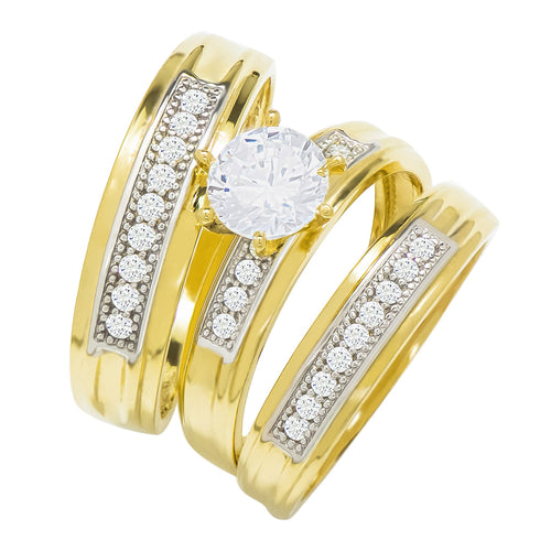 14k Yellow Gold Round Cubic Zirconia Bridal Wedding Trio Ring Set (1.35 cttw) - Style 22