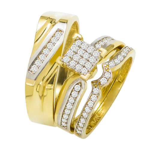 14k Two Tone Gold Round Cubic Zirconia Bridal Wedding Trio Ring Set (0.88 cttw) - Style 23