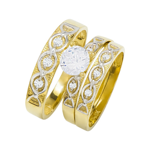 14k Two Tone Gold Round Cubic Zirconia Bridal Wedding Trio Ring Set (0.99 cttw) - Style 26
