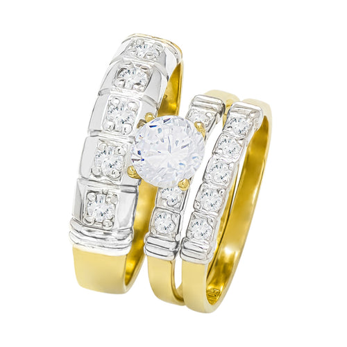 14k Two Tone Gold Round Cubic Zirconia Bridal Wedding Trio Ring Set (1.57 cttw) - Style 27