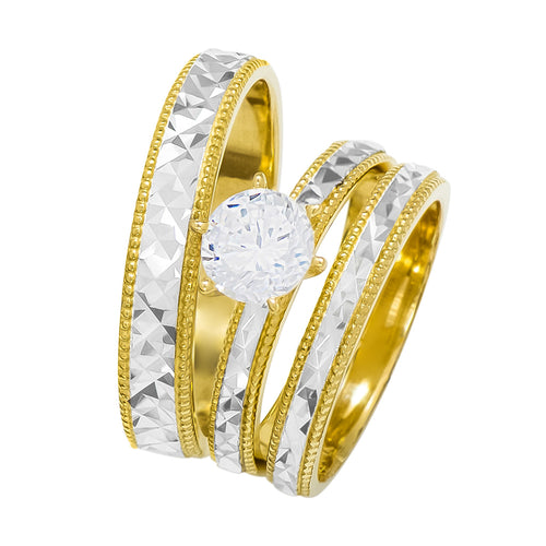 14k Two Tone Gold Round Cubic Zirconia Bridal Wedding Trio Ring Set (1.0 cttw) - Style 28
