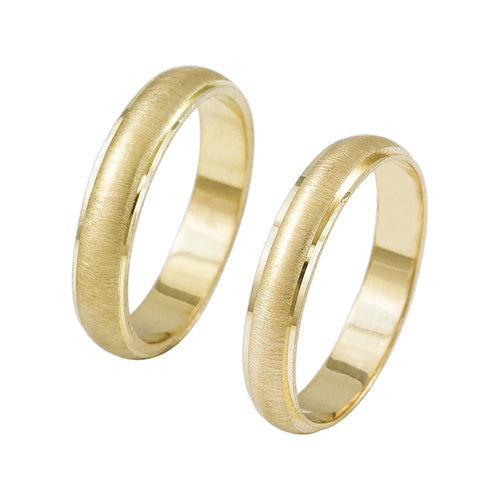 14K Solid Gold His and Hers Brushed Wedding Bridal Band Rings Set - Sizes 4 to 12