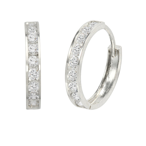 14K White Gold 0.72 Cttw Round Cut Cubic Zirconia Channel Set Huggie Hoop Earrings