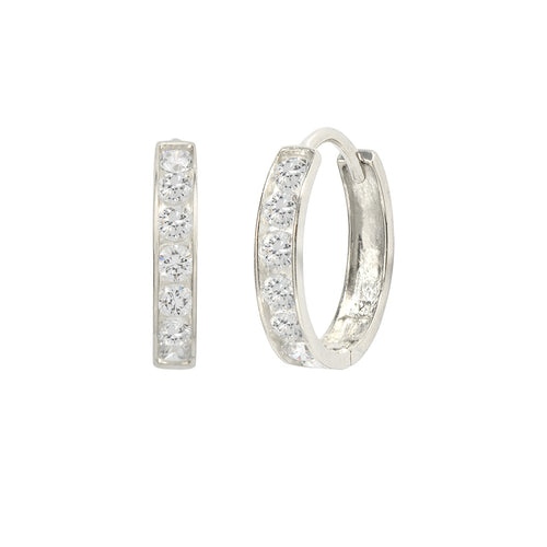 14K White Gold 0.42 Cttw Round Cut Cubic Zirconia Channel Set Huggie Hoop Earrings