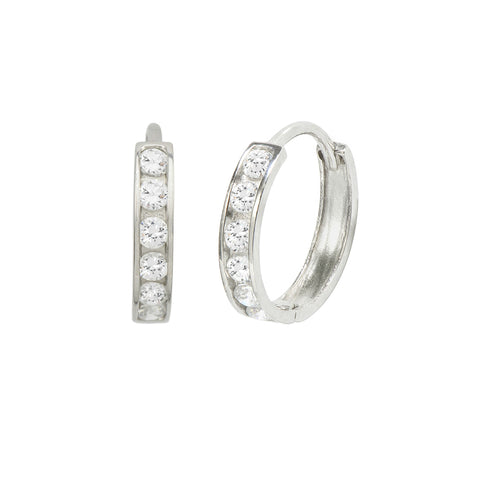 14K White Gold 0.24 Cttw Round Cut Cubic Zirconia Channel Set Huggie Hoop Earrings