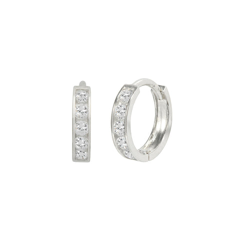 14K White Gold 0.20 Cttw Round Cut Cubic Zirconia Channel Set Huggie Hoop Earrings