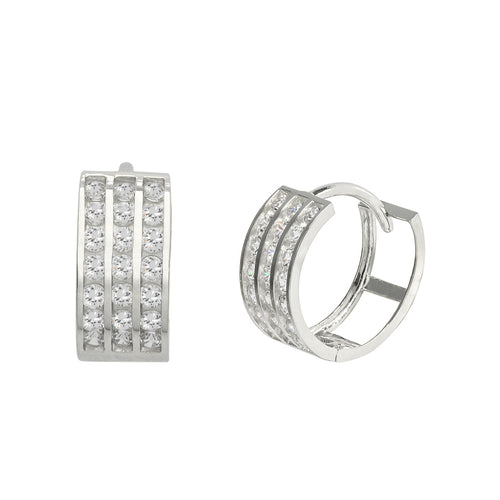 14K White Gold 0.63 Cttw Round Cut Cubic Zirconia 3-Channel Set Huggie Hoop Earrings