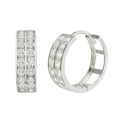 14K White Gold 1.44 Cttw Round Cut Cubic Zirconia 2-Channel Set Huggie Hoop Earrings