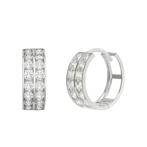 14K White Gold 1.28 Cttw Round Cut Cubic Zirconia 2-Channel Set Huggie Hoop Earrings