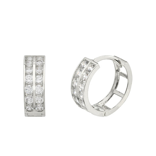 14K White Gold 0.84 Cttw Round Cut Cubic Zirconia 2-Channel Set Huggie Hoop Earrings
