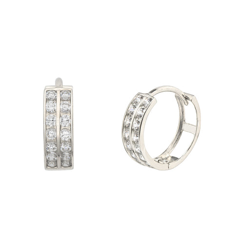 14K White Gold 0.42 Cttw Round Cut Cubic Zirconia 2-Channel Set Huggie Hoop Earrings
