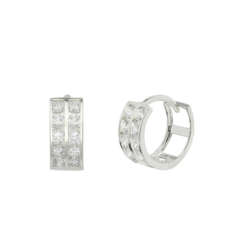 14K White Gold 0.40 Cttw Round Cut Cubic Zirconia 2-Channel Set Huggie Hoop Earrings