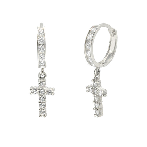 14K White Gold 0.96 Cttw Round Cut Cubic Zirconia Channel Set Cross Dangling Huggie Hoop Earring