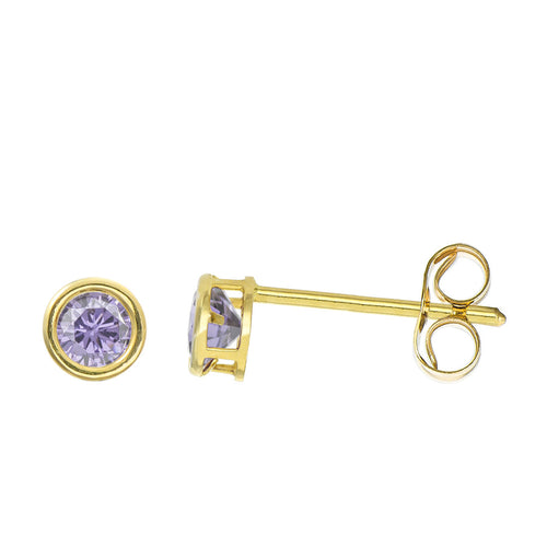 14K Yellow Gold 0.32 Cttw Round Cut Birthstone Colored CZ Bezel Set Stud Earrings - June