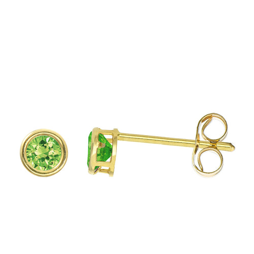 14K Yellow Gold 0.32 Cttw Round Cut Birthstone Colored CZ Bezel Set Stud Earrings - August