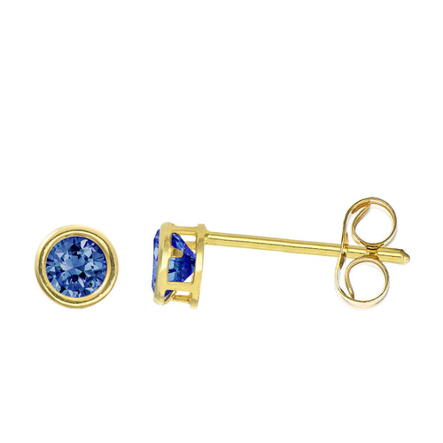 14K Yellow Gold 0.32 Cttw Round Cut Birthstone Colored CZ Bezel Set Stud Earrings - September