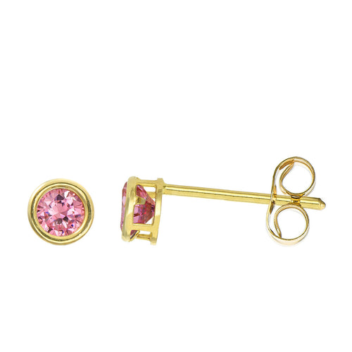 14K Yellow Gold 0.32 Cttw Round Cut Birthstone Colored CZ Bezel Set Stud Earrings - October