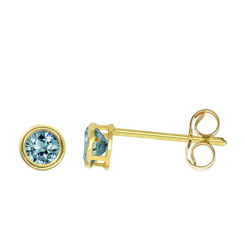 14K Yellow Gold 0.32 Cttw Round Cut Birthstone Colored CZ Bezel Set Stud Earrings - December
