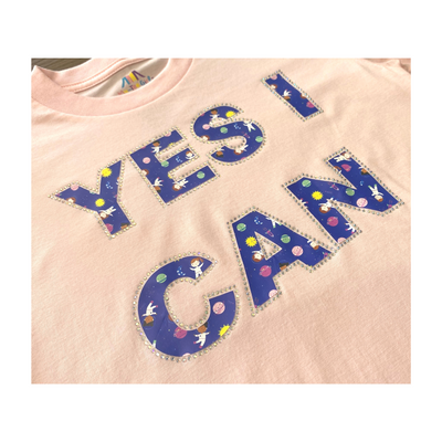 Astro Girl YES I CAN Rhinestone T-Shirt in Pink - My-Tee Girls