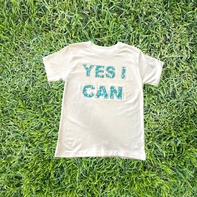 You Code Girl YES I CAN Rhinestone T-Shirt in White - My-Tee Girls