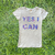Lady Justice YES I CAN Rhinestone T-Shirt in Grey