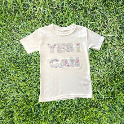 Fly Girl YES I CAN Rhinestone T-Shirt in White - My-Tee Girls