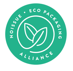 Image displays Noissue brand eco packaging alliance badge. Badge is a green circle with the words 'no issues eco packaging alliance' on the outside. Inside the words is an image of two leaves intertwined