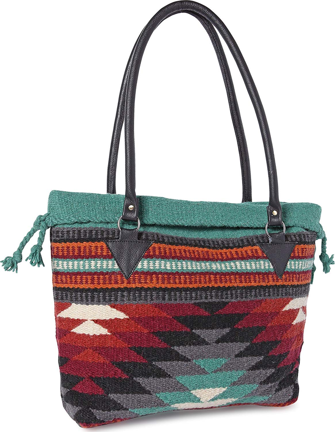 Handwoven Wool Malibu Purse with Genuine Leather Handles