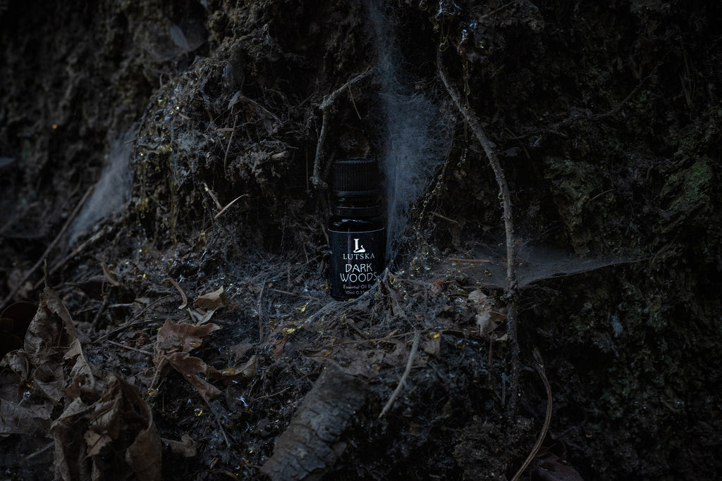 Darkwoods Essential Oil in the forest with spider webs