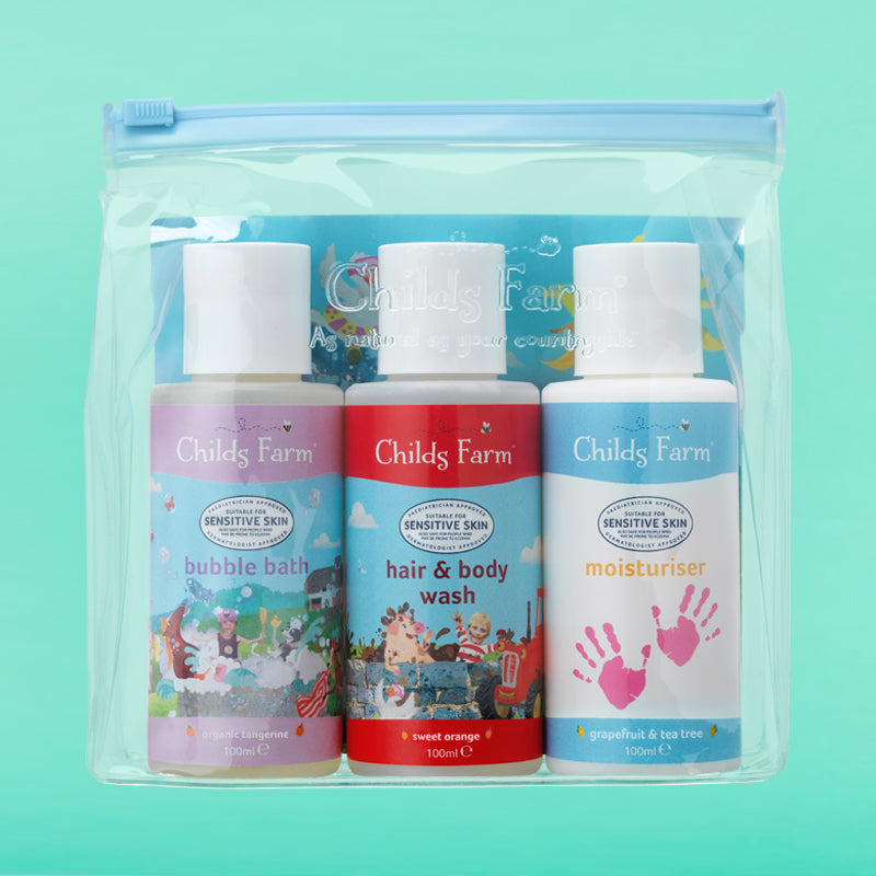 Childs Farm top-to-toesie cleaning kit, contains 3 x 100ml bottles