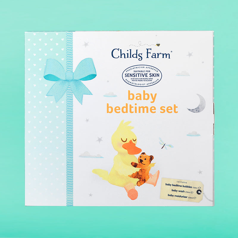 Childs Farm baby bedtime set, contains 3 x 250ml bottles