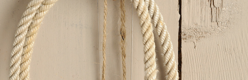 beige fusion mineral paint on wood clad wall with a rope
