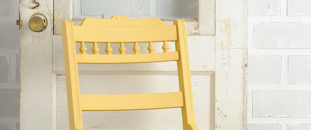 Prairie sunset fusion mineral paint painted onto an antique chair, yellow paint